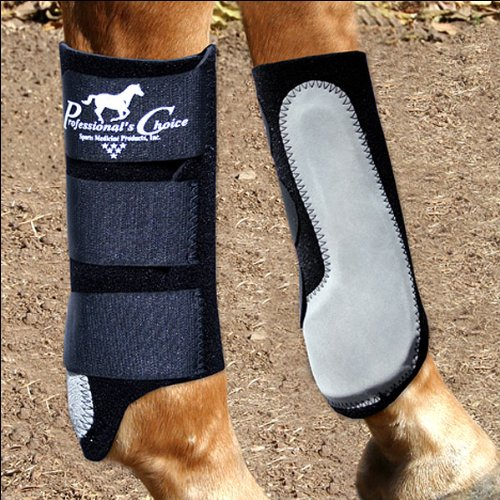 Professionals Choice Equine Easy-Fit Splint Front Boot, Pair (Universal Size, Black)