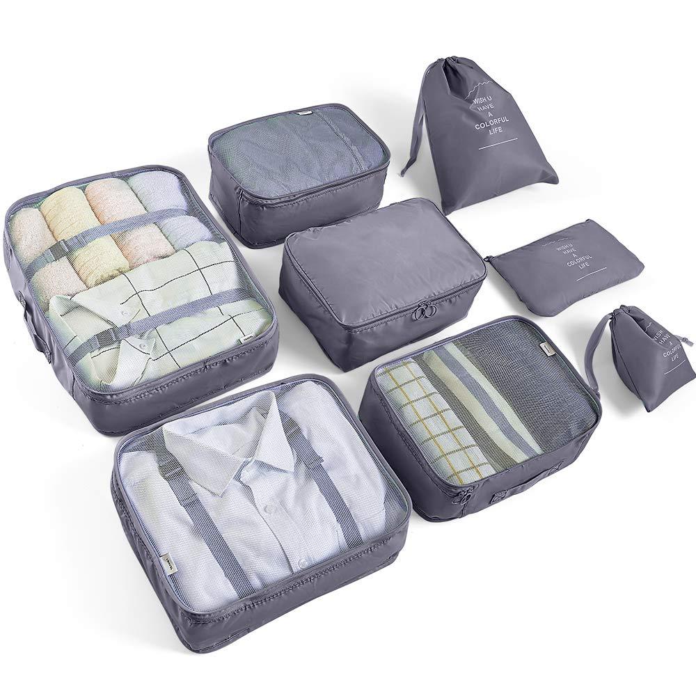 AMAYGA 8pcs Bolsas De Almacenamiento De Viaje a Prueba De Agua Ropa Embalaje Cubo Organizador De Equipaje Bolsa, Embalaje de Viaje Bolsas de Ropa Zapatos, Cosméticos Accesorios?Gris?