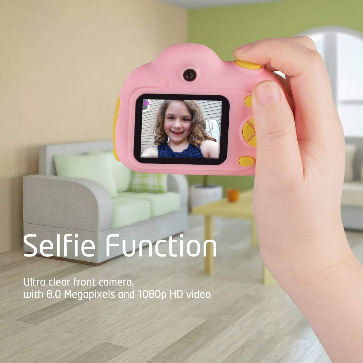 Funkprofi Kids Camera 1080P 8MP Front & Rear Camera Clear Digital Recorder Camcorder for Kids, Selfie Function, Funny Frames, Face Recognition, Support 32GB Memory Card, Best Gift for Boys and Girls by Funkprofi (Image #2)