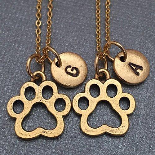 Best friend necklace, dog paw print necklace, paw print necklace, bff necklace, sister, friendship, personalized, initial, monogram