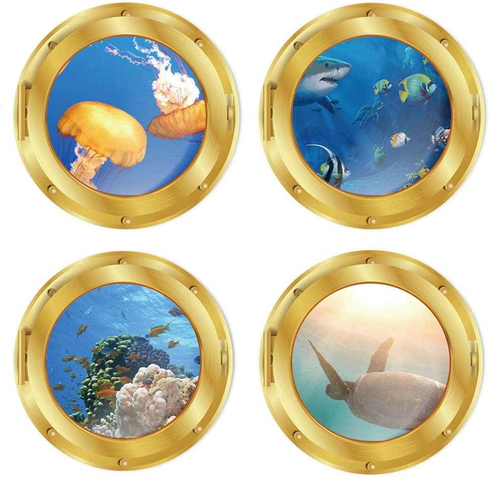 4 PCS Removable 3D Under The Sea Nature Scenery Wall Decals Animals Wall Sticker Home Wall Art Decor for Bathroom Bedroom Door Kids Baby Nursery Room Includ Sea Turtles Shark Fish Coral Plants