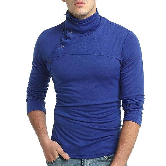 ♚Sudaderas para Hombres,Suéter Blusa con Cuello Halter de Manga Larga y Color Puro