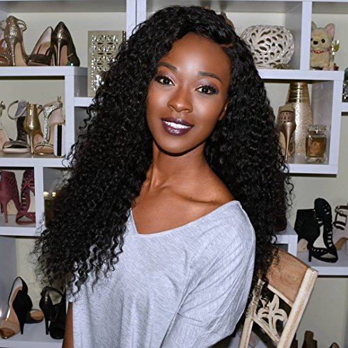 YS Hair Brazilian Human Hair Lace Front Wigs Deep Curly-Glueless 130% Density Virgin Hair with Baby Hair for African Americans, Natural Color 18 Inches by YS Hair
