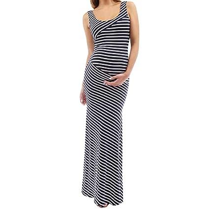 6b71aef605bdf Amazon.com: Women Maternity Stripe Vest Dress - Ladies Pregnancy Crew Neck  Sleeveless Split Maxi Dresses - Casual Fitted Maternity Clothes (S, ...