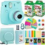 Fujifilm Instax Mini 9 Camera + Fuji Instant Film (40 Sheets) + Accessories Bundle - Carrying Case, Color Filters, 2 Photo Albums, Assorted Frames, Selfie Lens + More (Ice Blue)