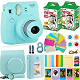 Photo : Fujifilm Instax Mini 9 Instant Camera + Fuji Instant Film (40 Sheets) + Accessories Bundle - Carrying Case, Color Filters, 2 Photo Albums, Assorted Frames, Selfie Lens + MORE (Ice Blue)