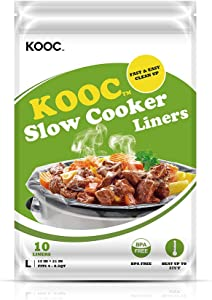 [NEW] KOOC Disposable Slow Cooker Liners and Cooking Bags, 1 Pack(10 Counts), Large Size Crock Pot Liners Fit 4QT to 8.5QT, 13