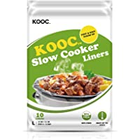 """[NEW] KOOC Premium Disposable Slow Cooker Liners and Cooking Bags, Large Size Fits 4QT to 8.5QT Crock Pot, 13""""x 21"""", 1…"""