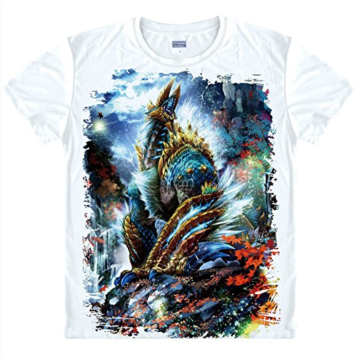 153ee0f911 标题:Rain s Pan®Monster Hunter Printed T Shirt Short Sleeve Shirt for Men  White