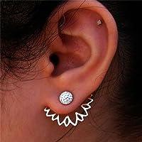 Tmrow 1pc Sunflower With Single Row Drilling Rhinestone Womens Stud Earrings,Sliver