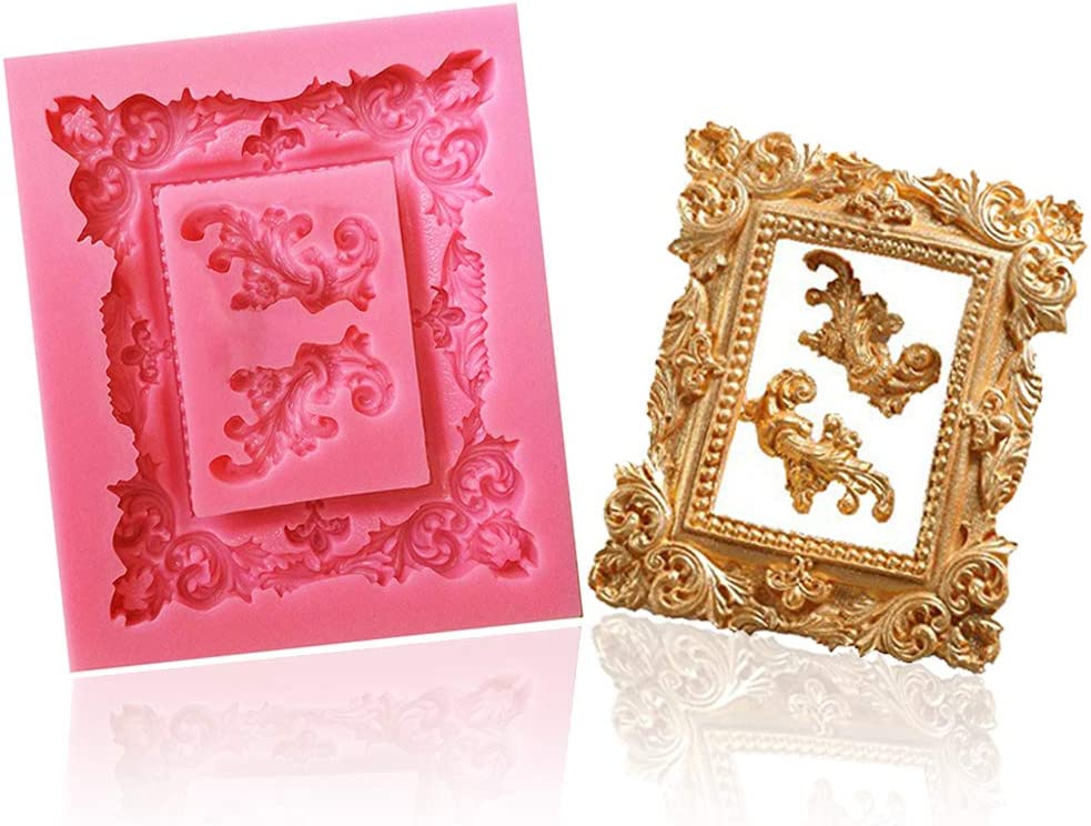 FLY DIY Cake Decorating 3D Photo Frame Design Silicone Mold,Pink