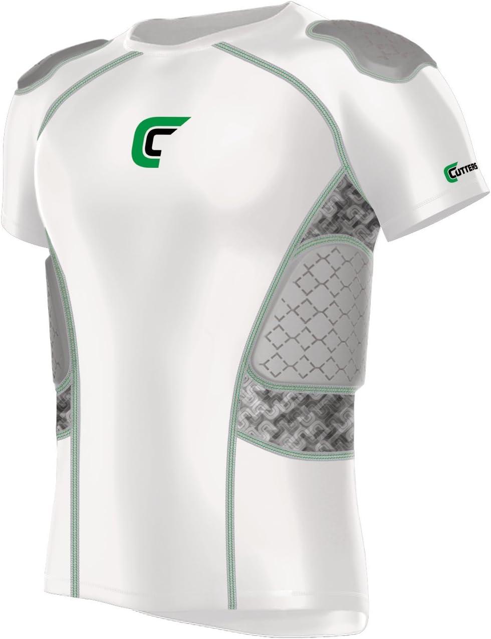 Cutters Rev Impact 5-padシャツフットボール、大人用 ホワイト/迷彩 Large