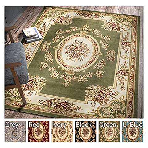 Pastoral Medallion Green French Area Rug European Formal Traditional Area Rug 7' x 9' Easy Clean Stain Fade Resistant Shed Free Modern Classic Contemporary Thick Soft Plush Living Dining Room (Flower Living Room Rug)