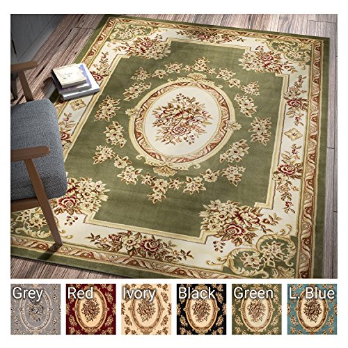Pastoral Medallion Green French European Formal Traditional 3x12 (2'7