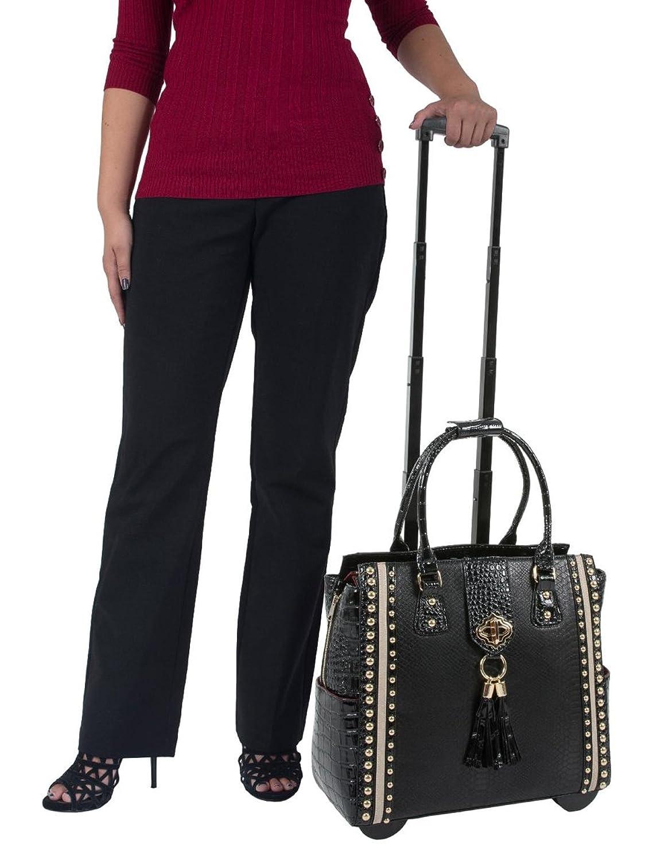 """MIDNIGHT MANHATTAN"" Black Python & Alligator Computer iPad, Laptop Tablet Rolling Tote Bag Briefcase Carryall Bag"