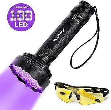 UV Violet 100LED Flashlight Blacklight Light Inspection Lamp Torch+UV Sunglasses