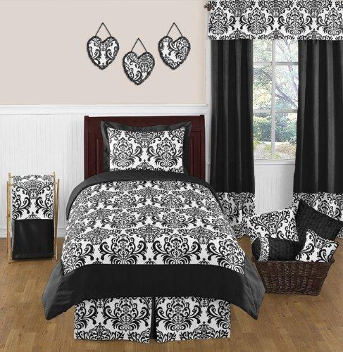 Sweet Jojo Designs 4-Piece Black and White Isabella Girls Children's and Teen Bedding Twin Set (Fashionista Comforter Set)
