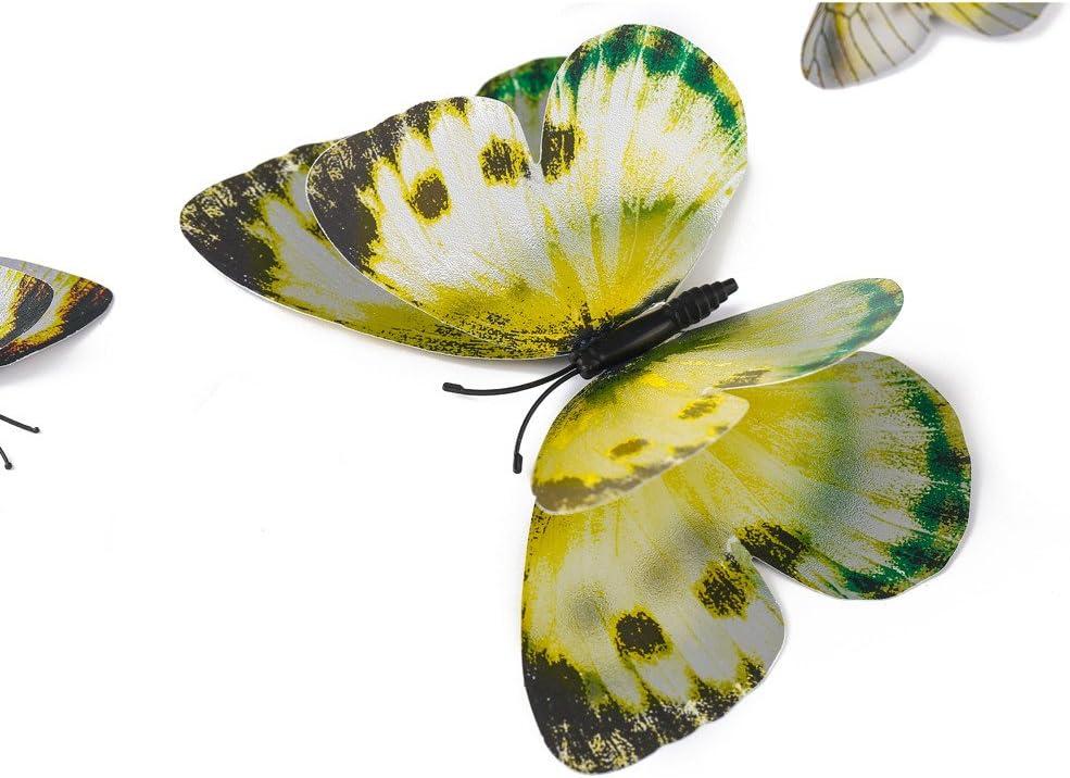 Stickers Muraux Pi/èces 3D Papillons Papiers D/écoration pour d/écoration de Maison et de Pi/èce 2667dd Couleurs Rouge//Bleu//Jaune//Vert//Rose//Couleur