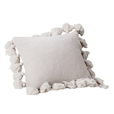 DOKOT Knit Boho Throw Pillow Covers, Woven Decorative Fringe Throw Pillow with Pom Poms Tassels, 18x18 inches, Beige