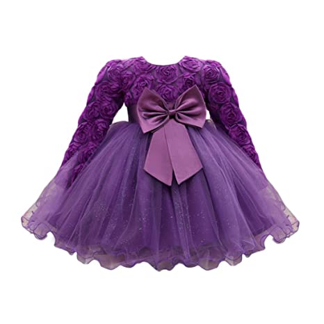 11c371ef55366 Oyedens Bambine Manica lunga Principessa Abiti Eleganti Bambina Partito  Compleanno Comunione Swing Vestiti Da Cerimonia Fiore