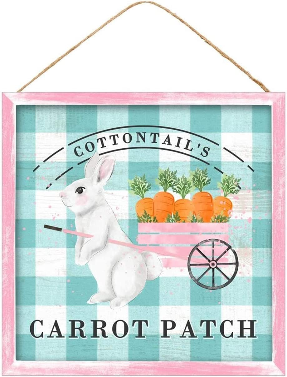 Buffalo Plaid Cottontail's Carrot Patch Easter Bunny with Wagon Sign | 10 x 10 inch | Farmhouse Easter Sign