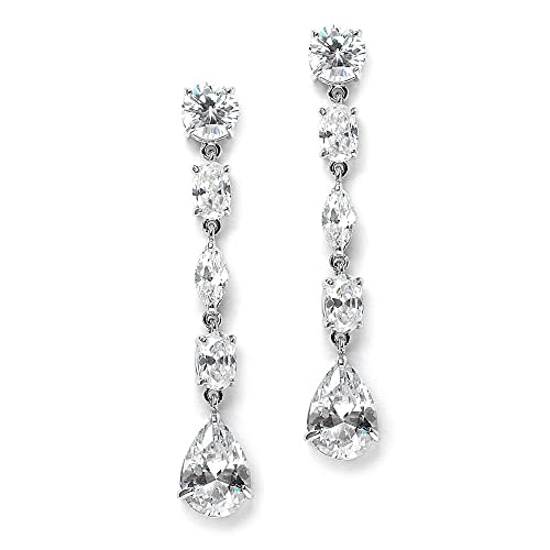 d1ed0c0c6 Amazon.com: Mariell Gorgeous Linear Mix-Shape Cubic Zirconia Bridal, Prom &  Holiday Dangle Earrings - Platinum Plated: Jewelry