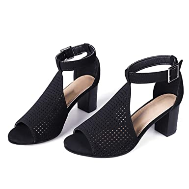 ae86a85cf6b7c Amazon.com: Women's Sandals Youngh Hollow Out Fish Mouth Square Heel ...