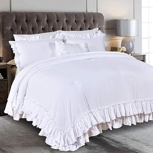 Amazon Com Queen S House Farmhouse Ruffled King Size Comforter Set White Lightweight Fluffy Boho Chic Bedding Comforter Ultra Soft Microfiber Inner Fill Bedding Home Kitchen