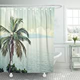 Emvency Shower Curtain Polyester Print 72x72 Inches Blue Space Nature in Vintage Style White Beach Abstract Surf India Hawaii Goa Bathroom