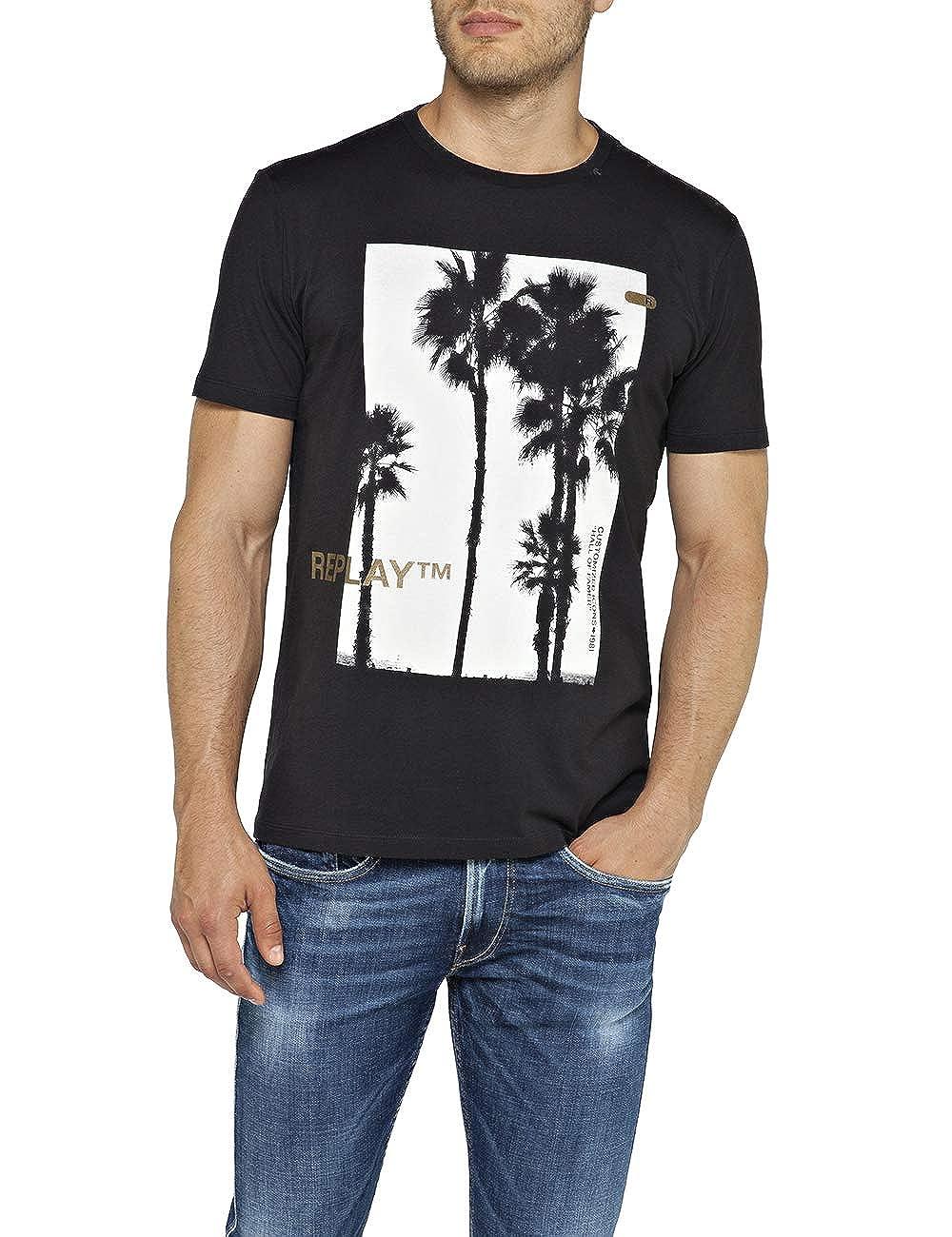 Black Replay Tropical Logo Crew-Neck Mens T-Shirt