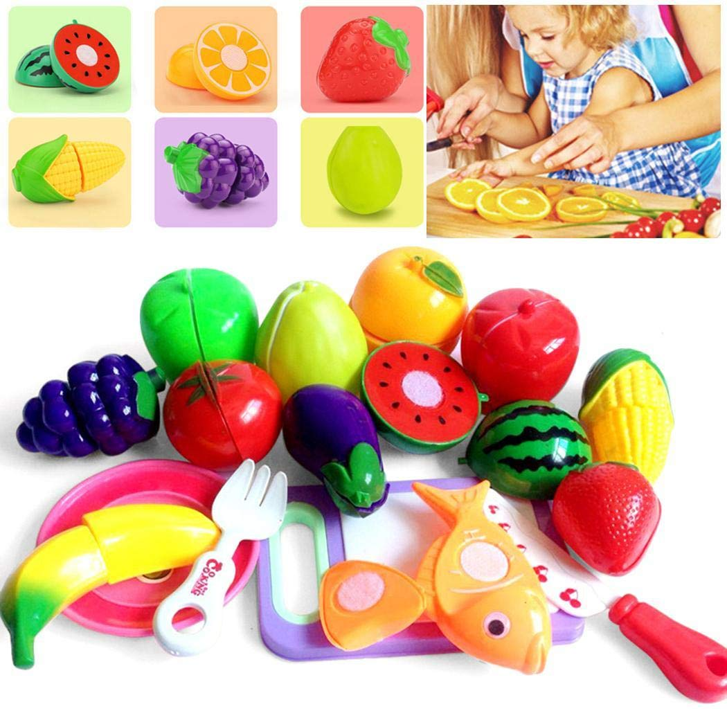 Lioder Hand Game Cut Fruit Vegetables Pretend Food Kitchen Toys Set New Kids Children Girls and Boys Educational Early Age Basic Skills Development