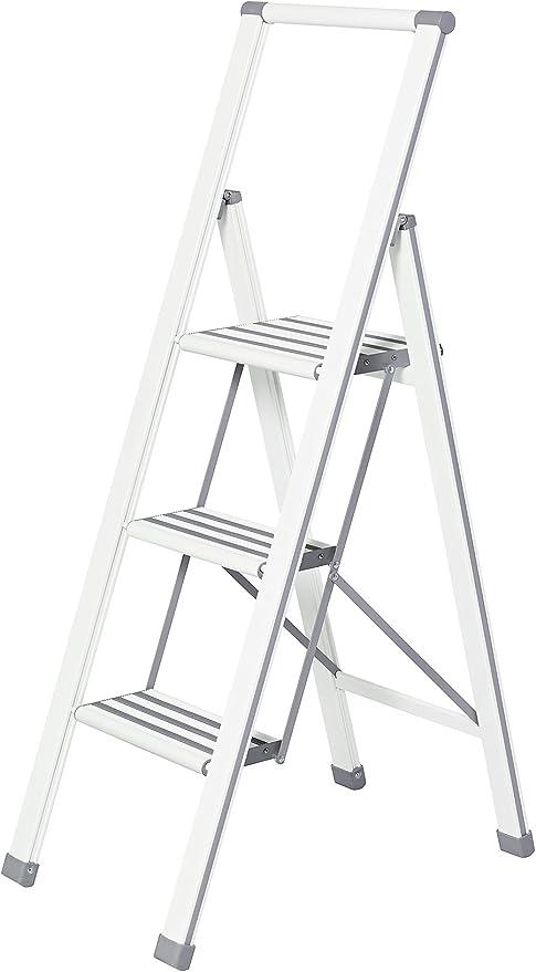 Wenko Escalera Plegable con 3 peldaños, Aluminio, Color Blanco ...