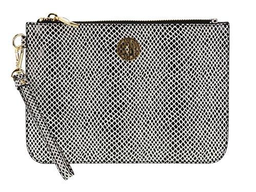 DKNY Fashion Snake Printed Leather Wristlet Clutch Purse in Black-White