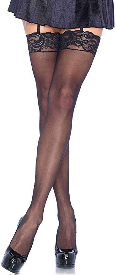 Leg Avenue Women/'s Nylon Sheer Thigh High With Lace Top