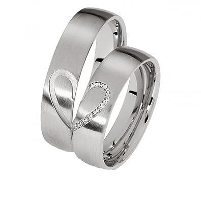 alianzas Partner anillos de compromiso Anillos Trau Amistad Anillos de titanio con circonitas/Laser grabado gratis: Amazon.es: Joyería