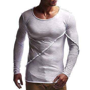 Camisas Hombre Baratas,❤ Amlaiworld Moda Sudaderas de Manga Larga de Color Puro Otoño