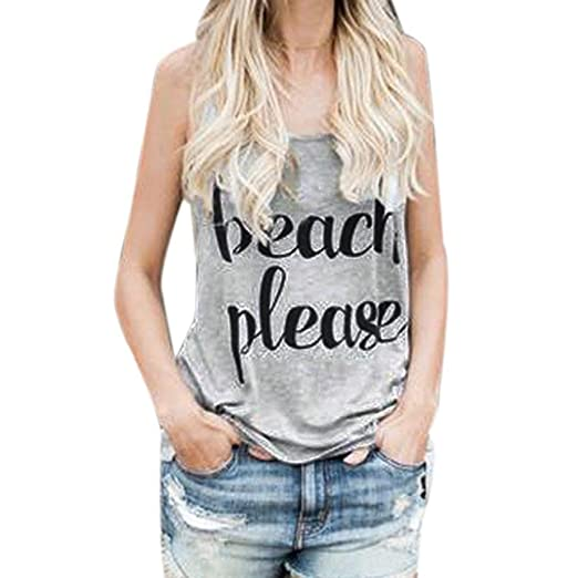 Tank Tops For Womens, FORUU Summer Sexy Casual Letter Printed Crop Tops Vest