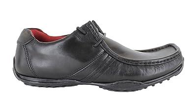 Zapatos tipo mocasines acordonados de cuero negro para hombres, modelo Kinder, de Red Tape, color negro, talla 45: Amazon.es: Zapatos y complementos