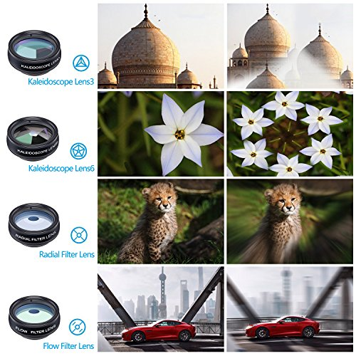 Cell Phone Camera Lens Kit by Ailuki with Professional Telephoto Lens,Wide Angle Lens+Macro Lens+Fisheye Lens, Selfie Remote Control+Tripod for iPhone Samsung Galaxy Most of Smartphone and iPad by AILUKI (Image #2)