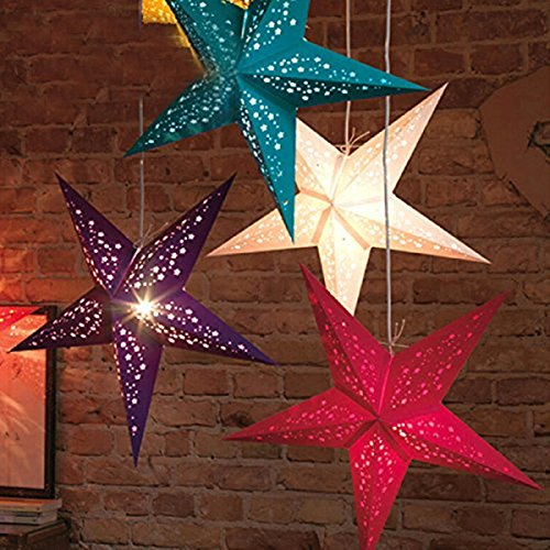UUOUU Paper Star Lantern Lampshade 12 Inch Handmade Christmas Paper Star Pentagram Lampshade for Valentine's Day Wedding Party Home Hanging Decor(set of (Hanging Ceiling Decor)