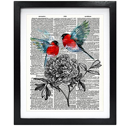 Susie Arts 8X10 Unframed Birds and Flowers Upcycled Vintage Dictionary Art Print Book Art Print Home Decor Funny Wall Art V155
