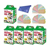 Fujifilm Instax Mini Instant Film, 2 x 10 Shoots x 5 Pack (Total 100 Shoots) + withC Microfiber Cleaning Cloth for Camera Lenses