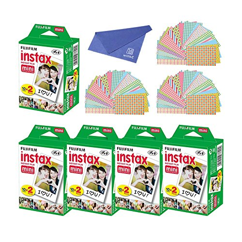 Fujifilm Instax Mini Instant Film, 2x10 Shoots x5 Pack (Total 100 Shoots) + withC Microfiber Cleaning Cloth+ Free...