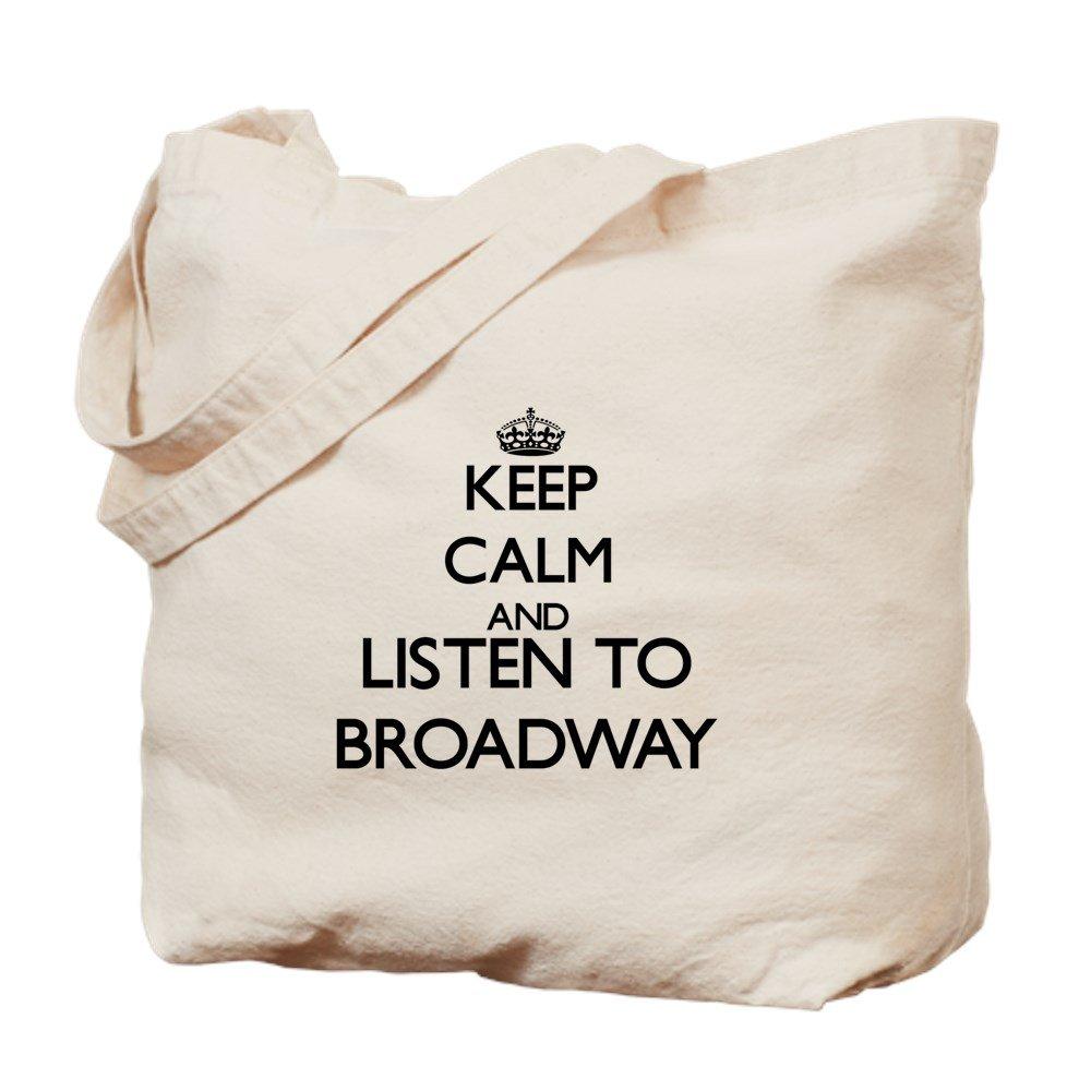 CafePress – Keep Calm and Listen to Broadway – ナチュラルキャンバストートバッグ、布ショッピングバッグ B00WJEO0P6