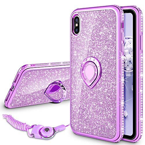 VEGO Case for Apple iPhone Xs Max Glitter Case iPhone Xs Max Case for Girls Women Fancy Cute Fashion Sparkling Bling Rhinestone with Glitter Kickstand Ring Grip Holder for iPhone Xs Max 6.5(Purple)
