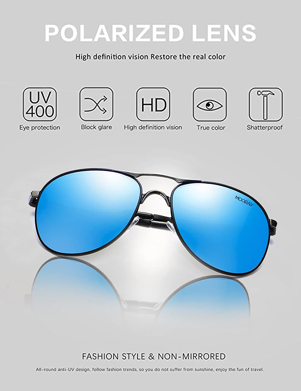 5eae5308d Amazon.com: MOORAY Polarized Aviator Sunglasses for Men and Women UV  Protection Mens and Womens Sports Sunglasses (Blue): Clothing