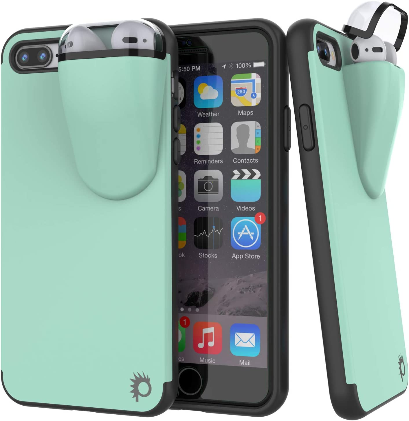 "Punkcase iPhone 8 Plus Airpods Case Holder (TopPods Series) | Slim & Durable 2 in 1 Cover Designed for iPhone 8 Plus (5.5"") 
