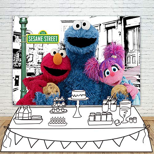 Comsic Town Sesame Street Backdrops for Photography 7x5 Blue Cookie Monster with Abby Cadabby Background for Kids Birthday Party Customized Name Vinyl Backdrop