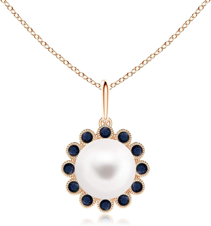 Collar con colgante de perla cultivada en agua dulce y zafiro con milgrano