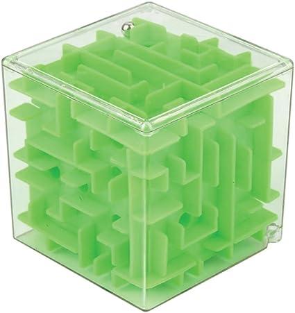 Cubo laberinto tridimensional. Juego de coordinación y destreza. Verde: Amazon.es: Juguetes y juegos
